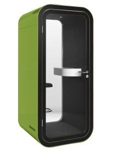 Framery O Phone Booth Green, Black Formica laminate on Birch plywood with varnish trim, office, Pod